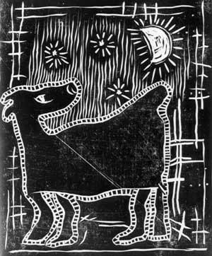 Art Studio by Sergiy Burtovyy - linocut - Night dog