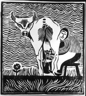 Art Studio by Sergiy Burtovyy - linocut - Milk
